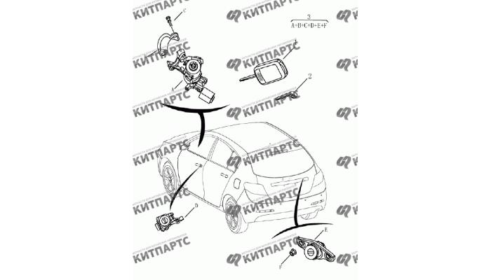 Ключ и личинки замков (хетчбэк) Geely Emgrand (EC7)